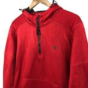 Champion Mens Hoodie Red Long Sleeve Mock Neck M